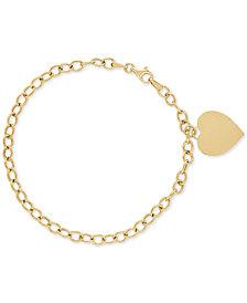 Heart Charm Open Link Bracelet in 10k Gold