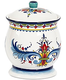 Tabletops Unlimited San Marino Italian Blue Small Canister