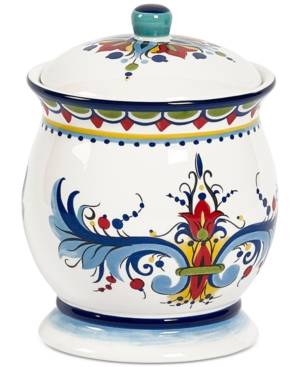 Closeout! Tabletops Unlimited San Marino Italian Blue Small Canister