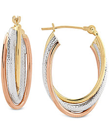 Tricolor Overlap Oval Hoop Earrings in 10k Gold, White Gold & Rose Gold