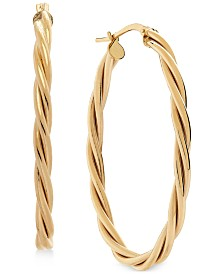 Twist Oval Hoop Earrings in 14k Gold