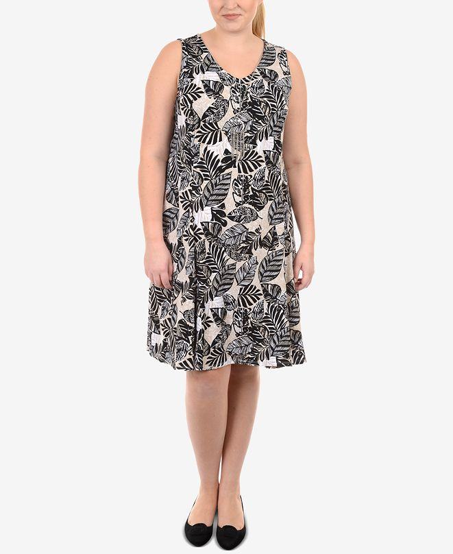 NY Collection Plus Size Printed A-Line Dress