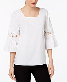 Calvin Klein Flare-Sleeve Lace Illusion Top