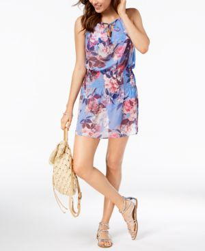 BECCA Floral-Print Smocked Cover-Up Women'S Swimsuit in Purple Floral