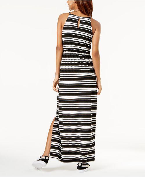 and Striped Dress Slit Juniors' Black White Side Maxi BCX 74BAqx