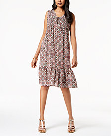 NY Collection Lace-Up Flounce Dress