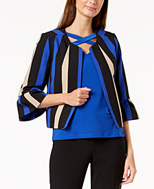 Nine West Striped Flounce-Sleeve Blazer