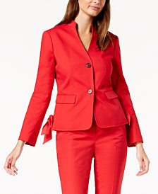 Nine West Bow-Trim Two-Button Blazer