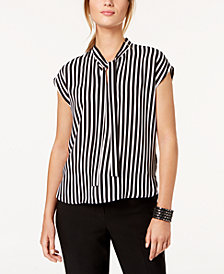 Nine West Striped Tie-Neck Top