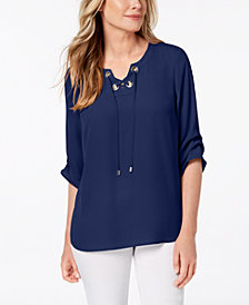 JM Collection Lace-Up Tiered-Sleeve Top, Created for Macy's