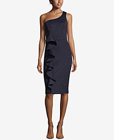 Betsy & Adam Metallic-Dot Ruffled Scuba Dress