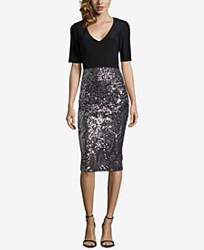 Betsy & Adam Solid & Sequined Midi Sheath Dress