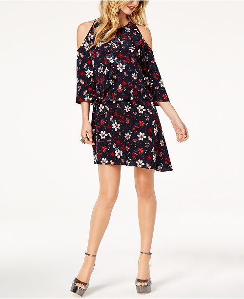 275a8f52d6c ... Rachel Zoe Printed Cold-Shoulder Ruffle Dress