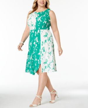 Image of Alfani Plus Size Colorblocked Fit & Flare Dress, Created for Macy's
