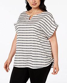 Calvin Klein Plus Size Dotted Stripe Blouse