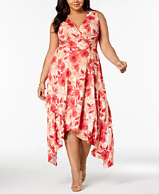 Love Squared Trendy Plus Size Printed Handkerchief-Hem Dress