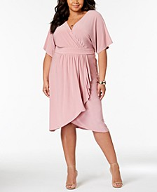 Trendy Plus Size Faux-Wrap Dress
