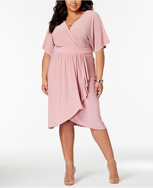 Love Squared Trendy Plus Size Faux-Wrap Dress & Reviews ...