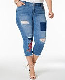 I.N.C. Plus Size Patched Cropped Jeans Created for Macys