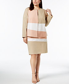 Calvin Klein Plus Size Colorblocked Jacket & Pencil Skirt