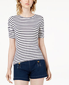 Maison Jules Striped Ruched-Sleeve T-Shirt, Created for Macy's