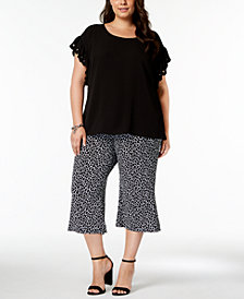 Michael Kors Black Scalloped Top and Black and White Giraffe Print Pant