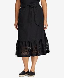 Lauren Ralph Lauren Plus Size A-Line Poplin Midi Skirt