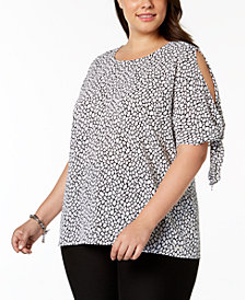 MICHAEL Michael Kors Plus Size Leopard-Print Split-Sleeve Top