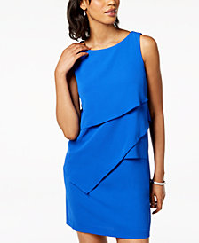 Jessica Howard Petite Asymmetrical Tiered Shift Dress