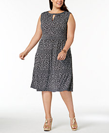 MICHAEL Michael Kors Plus Size Leopard-Print Tiered Dress