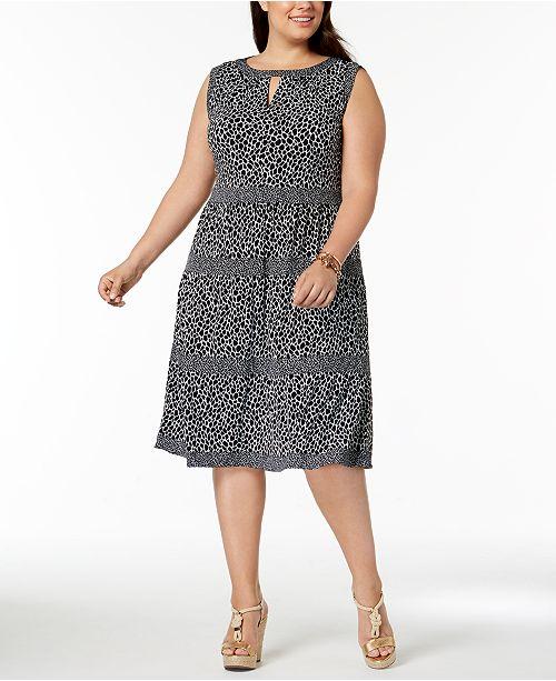 Michael Kors Plus Size Leopard Print Tiered Dress Dresses Plus