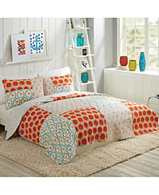 Bouffants and Broken Hearts by Makers Collective Flamingo Citrus Cotton Reversible 2-Pc. Twin Quilt Set