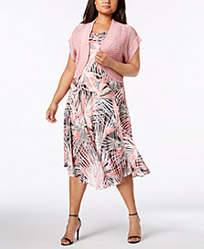 Robbie Bee Plus Size Printed A-Line Dress & Shrug