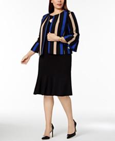 Nine West Plus Size Striped Flyaway Blazer, Cross-Neck Shell & Flared-Hem Skirt