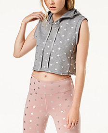 Material Girl Active Juniors' Star-Print Muscle Hoodie, Created for Macy's