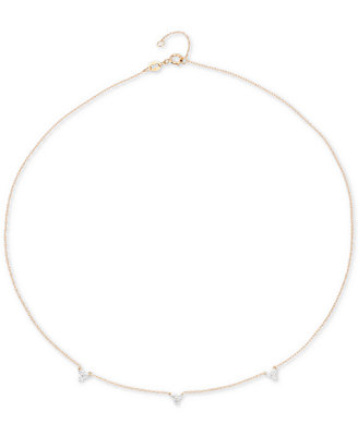 "Diamond Mini Cluster Choker Necklace (1/8 Ct. T.W.) In 14k Gold, 13 1/2"" + 1"" Extender, Created For Macy's by Elsie May"