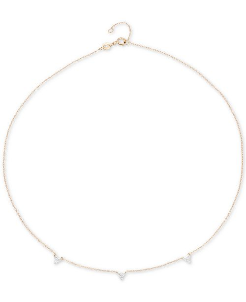 """Elsie May Diamond Mini Cluster Choker Necklace (1/8 ct. t.w.) in 14k Gold, 13-1/2"""" + 1"""" extender, Created for Macy's"""