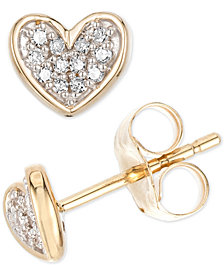 Elsie May Diamond Accent Heart Stud Earrings in 14k Gold, Created for Macy's