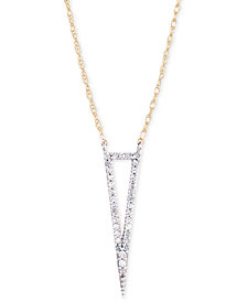 "Elsie May Diamond Accent Tall Open Triangle Pendant Necklace, 17"" + 1"" extender, Created for Macy's"