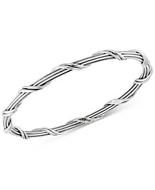 Overlap Bangle Bracelet in Sterling Silver