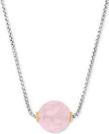 "Peter Thomas Roth Rose Quartz Bead 18"" Pendant Necklace (7 ct. t.w.) in Sterling Silver and 18k Gold-Plate"
