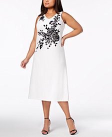 Calvin Klein Plus Size Embellished Midi Dress