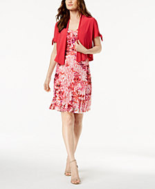 R & M Richards Petite Printed Lace Dress & Split-Sleeve Jacket