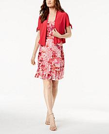 R & M Richards Petite Printed Lace Dress & Split-Sleeve Jacket