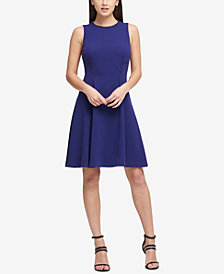 DKNY Embellished-Neck Fit & Flare Dress, Created for Macy's