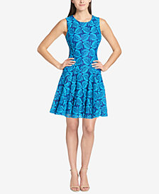 Tommy Hilfiger Botanical Palm Lace Fit & Flare Dress