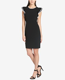 Tommy Hilfiger Scuba Crepe Flutter Sleeve Sheath Dress