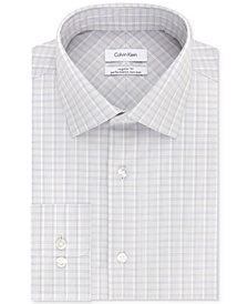 Calvin Klein Men's STEEL Classic/Regular Fit Non-Iron Performance Purple Check Dress Shirt
