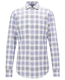BOSS Men's Slim-Fit Checked Cotton Oxford Shirt