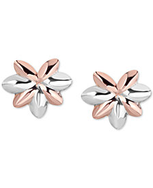 Tricolor Flower Stud Earrings in 10k Gold, White Gold & Rose Gold